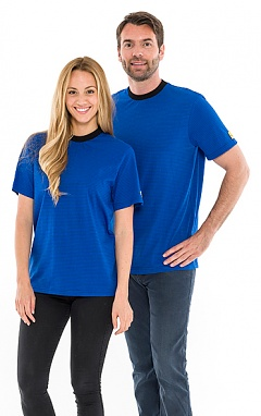 SAFEGUARD - SafeGuard ESD - ESD T-Shirt round neck royal blue, with black collar, 150g/m², M, WL30472