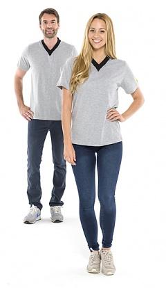 SAFEGUARD - SafeGuard ESD - ESD-Shirt V-neck light grey/black, 150g/m², L, WL35275