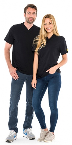 SAFEGUARD - SafeGuard ESD - ESD-Shirt V-neck black, 150g/m², M, WL35790
