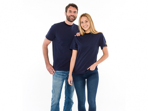 SAFEGUARD - SafeGuard ESD - ESD T-Shirt round neck navy blue/black, 150g/m², S, WL44401