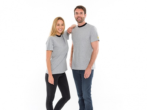 SAFEGUARD - SafeGuard ESD - ESD T-Shirt round neck light grey/black, 150g/m², M, WL31956