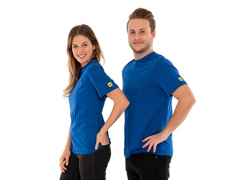 SAFEGUARD - SafeGuard PRO - ESD T-Shirt round neck blue, breast pocket, 150g/m², L, WL44711