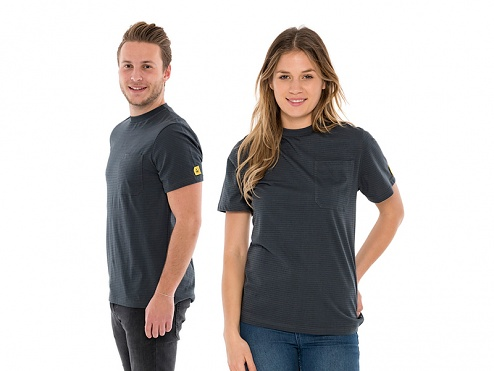 SAFEGUARD - SafeGuard PRO - ESD T-Shirt round neck grey, breast pocket, 150g/m², XL, WL44703