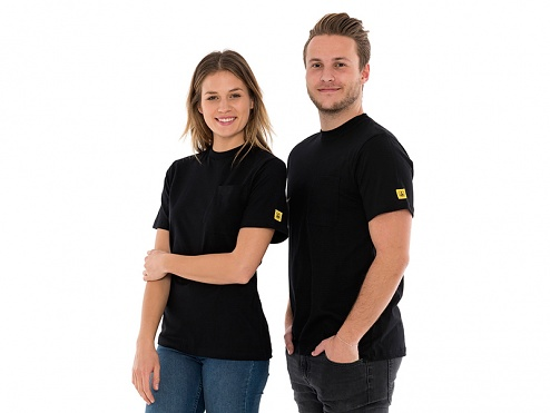 SAFEGUARD - SafeGuard PRO - ESD T-Shirt round neck black, breast pocket, 150g/m², XS, WL44690