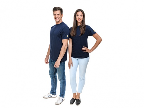 SAFEGUARD - SafeGuard PRO - ESD-T-Shirt round neck, S, navy blue, WL37158