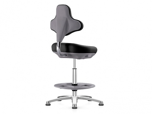 BIMOS - 9101E-2000 - ESD Labster laboratory chair with glides and footring, integral foam black, WL40407