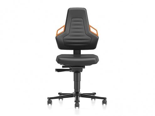 BIMOS - 9033-MG01-3279 - Laboratory chair NEXXIT 2 with castors, imitation leather, orange handles, WL43901