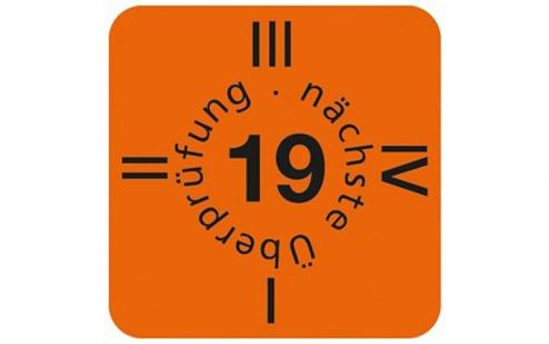 WARMBIER - 2850.6035.19.D - Date sticker, 15 x 15 mm yellow orange 2019, 30 pcs / sheet, German, WL42915