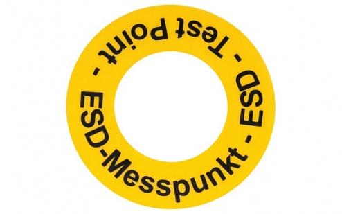 WARMBIER - 2822.1.MP.DE - Floor marking sticker ESD measuring point, yellow, PVC, WL27137