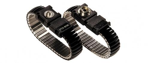 WARMBIER - 2052.750.5.10 - ESD Armband, Metallglieder, schwarz, 10 mm Druckknopf, WL20489