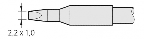 JBC - C245907 - Soldering tip chisel-shaped, 2.2 x 1 mm, WL19821