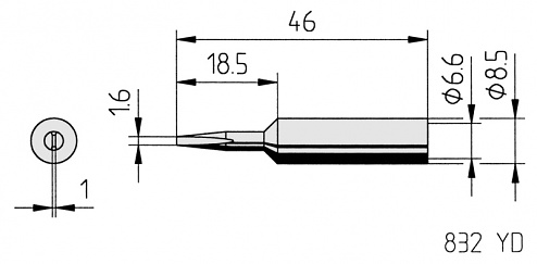 ERSA - 0832YDLF/SB - Soldering tip straight, chisel-shaped, 1.6 mm, WL36120