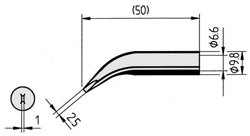 ERSA - 0832WD/SB - Soldering tip, angled, chisel-shaped, 2.5 mm, WL12233