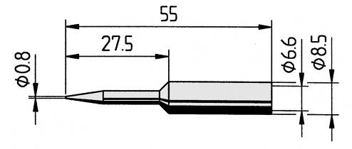 ERSA - 0832SDLF/10 - Soldering tip, straight, extended, pencil tip, 0.8 mm, WL12229