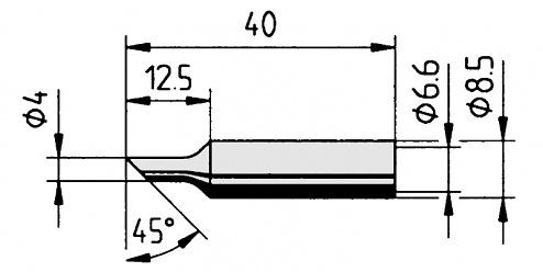 ERSA - 0832NDLF/SB - Soldering tip straight, bevelled, 4.0 mm, WL36111