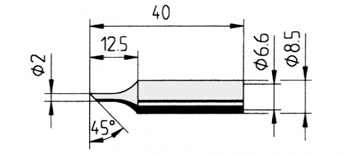 ERSA - 0832FDLF/SB - Soldering tip straight, bevelled, 2.0 mm, WL36106