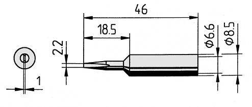 ERSA - 0832CD/SB - Soldering tip straight, chisel-shaped, 2.2 mm, WL36102