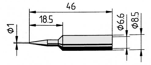 ERSA - 0832BD/SB - Soldering tip straight, pencil tip, 1.0 mm, WL36100