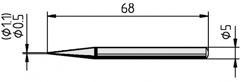 ERSA - 0032BD/SB - Soldering tip for ERSA 30 S, straight, pencil tip, 1.1 mm, WL36054