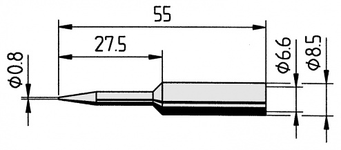 ERSA - 0832SDLF/SB - Soldering tip, straight, extended, pencil tip, 0.8 mm, WL36113
