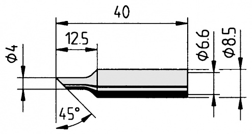 ERSA - 0832NDLF/10 - Soldering tip straight, bevelled, 4.0 mm, WL23491