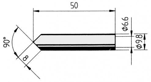 ERSA - 0832MDLF/10 - Soldering tip straight, bevelled on both sides, 8.0 mm, WL23741