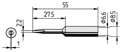 ERSA - 0832KDLF/10 - Soldering tip straight, extended, chisel-shaped, 2.2 mm, WL12217
