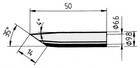 ERSA - 0832GDLF/10 - Soldering tip straight, bevelled, 14.0 mm, WL23739