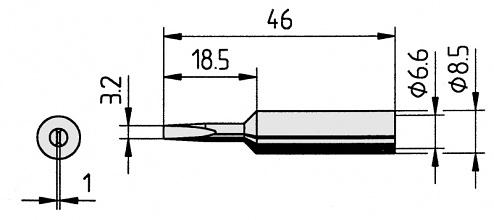 ERSA - 0832ED/10 - Soldering tip straight, chisel-shaped, 3.2 mm, WL23041