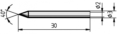 ERSA - 0012BD/SB - Soldering tip for mini type S, straight, pencil tip, 0.3 mm, WL11961