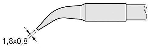 JBC - C250405 - Soldering tip chisel-shaped, curved, 1.8 x 0.8 mm, WL22391