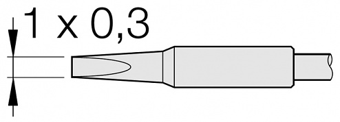 JBC - C105113 - Soldering tip chisel-shaped, straight, 1 x 0.3 mm, WL26230