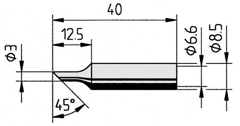 ERSA - 0832TDLF/10 - Soldering tip straight, bevelled, 3.0 mm, WL12230