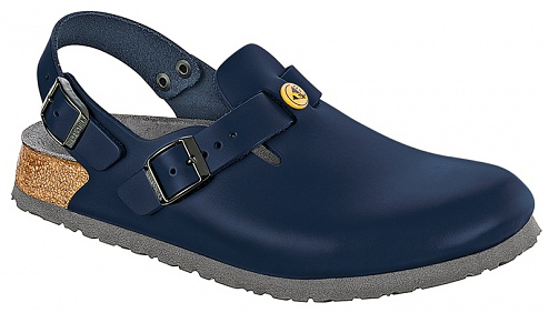 BIRKENSTOCK - 061270-46 - ESD Clogs TOKIO with heel strap, leather, unisex, blue, size 46, WL28822