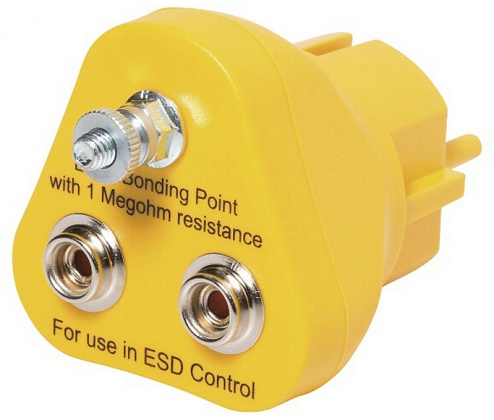 SAFEGUARD - SAFEGUARD ESD - ESD earthing plug, 2 x 10 mm push button, yellow, WL32123