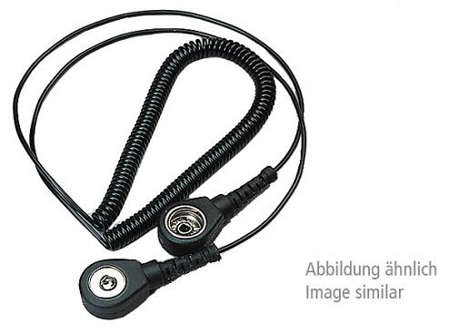 WARMBIER - 2101.780.3 - ESD Mini spiral cable, 2 MOhm, black, 2,4 m, 3 mm push button, banana plug, WL19986