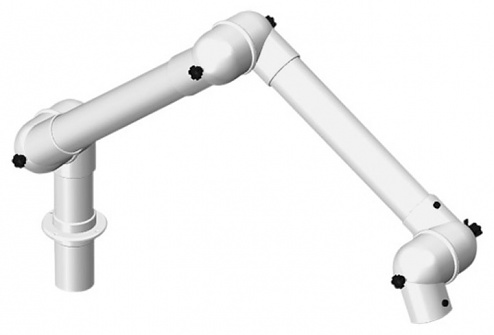 ALSIDENT - 63-3535-1-7-5 - Suction arm system DN63 3 joints, 800 mm, white - Table mounting, WL37324
