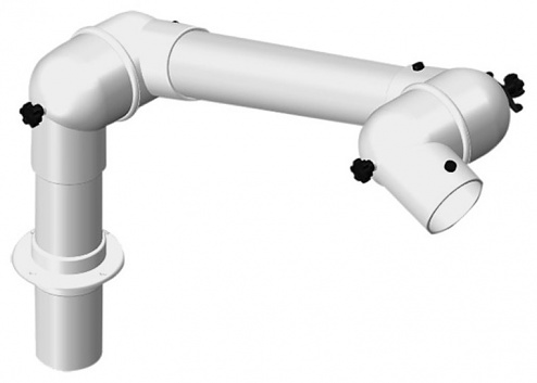 ALSIDENT - 63-55-1-7-5 - Suction arm system DN63 2 joints, 800 mm, white - Table mounting, WL37323