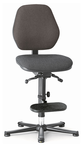BIMOS - 9152E-9801-3218 - ESD chair BASIC 3 Plus, glider, ascent aid, permanent contact, fabric Duotec black, backrest 430 mm, WL45123