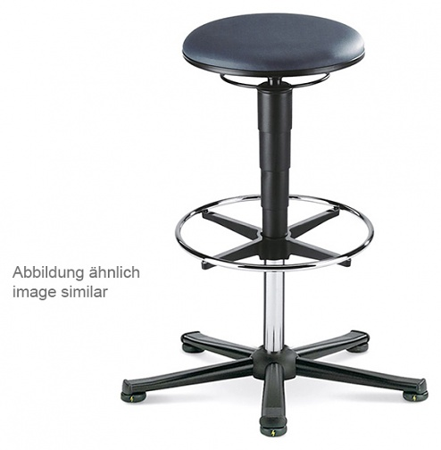 BIMOS - 9469E-2571 - ESD stool 3 with glider and foot ring, imitation leather black, WL40378