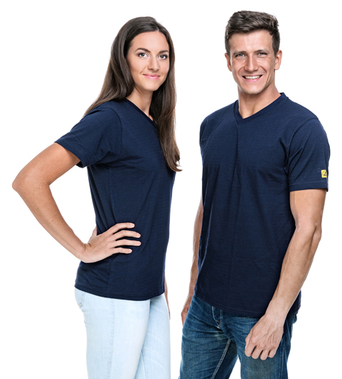 SAFEGUARD - SafeGuard PRO - ESD-T-Shirt V-Ausschnitt marineblau, 150g/m², M, WL37174