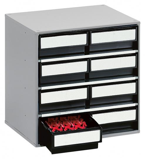 TRESTON - 0830 ESD - ESD-Schubladenmagazin, 8 Schubladen, 400x300x395 mm, schwarz, WL36942