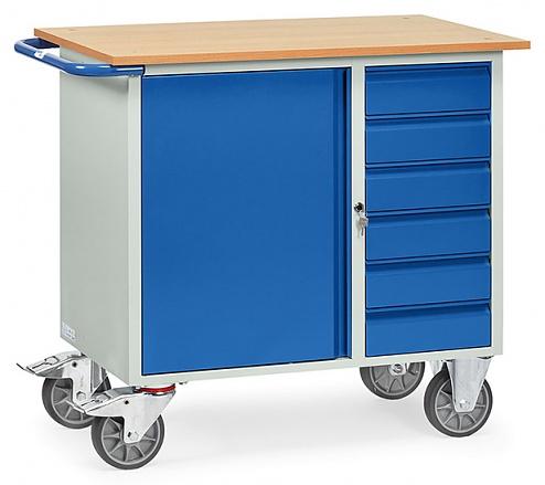 FETRA - 2450 - Workshop trolley, 1 cupboard and 6 drawers, 400 kg, 985 x 590 mm, WL39828