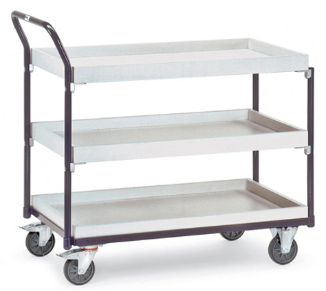 FETRA - 1881 - ESD table trolley, 3 boxes, 300 kg, 1000 x 600 mm, WL34223