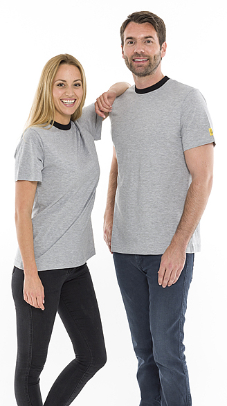 SAFEGUARD - SafeGuard ESD - ESD T-Shirt round neck light grey/black, 150g/m², M, WL31956