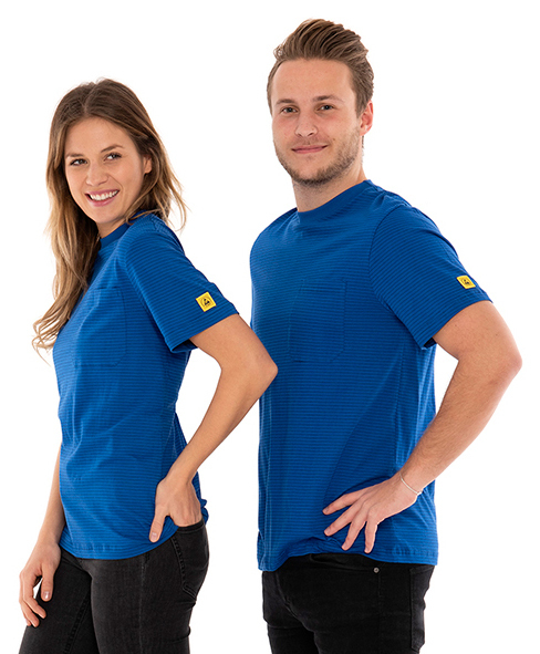 SAFEGUARD - SafeGuard PRO - ESD T-Shirt round neck blue, breast pocket, 150g/m², 4XL, WL44715