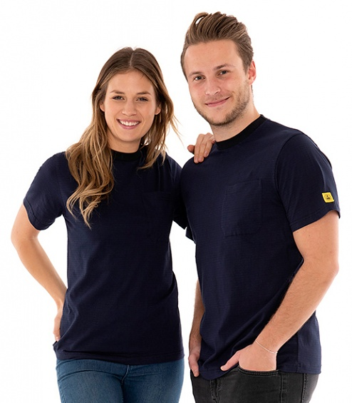 SAFEGUARD - SafeGuard PRO - ESD T-Shirt round neck blue, breast pocket, 150g/m², 4XL, WL44557
