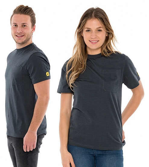 SAFEGUARD - SafeGuard PRO - ESD T-Shirt round neck grey, breast pocket, 150g/m², XS, WL44699