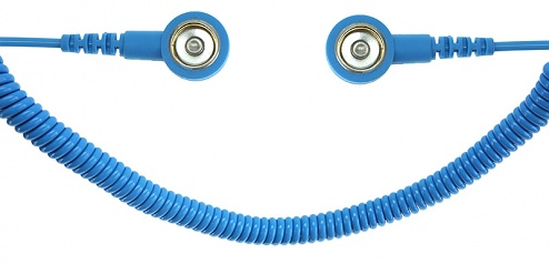 SAFEGUARD - SAFEGUARD ESD PRO - ESD spiral cable, 2 MOhm, light blue, 1,8 m, 10/10 mm push button, WL42080