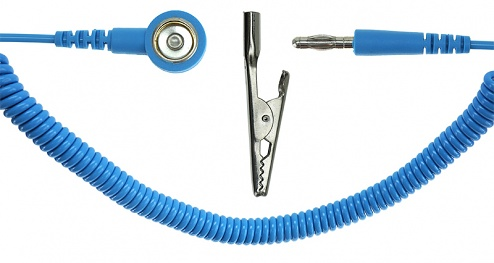 SAFEGUARD - SAFEGUARD ESD - ESD spiral cable, 1 Mohm, light blue, 2,4 m, 10 mm snap fastener, banana plug, crocodile clip, WL20500